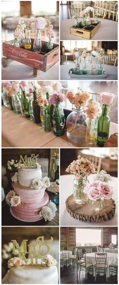 The details from an Norman Oklahoma wedding at Southwind Hills Barn Wedding Venue. The coke bottles with flowers are DIY, vintage, & so cool!