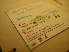 Lovely hand-drawn menu for the TFT dish