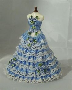 : Ice blue ruffle layered ballgown in 1/12th scale.