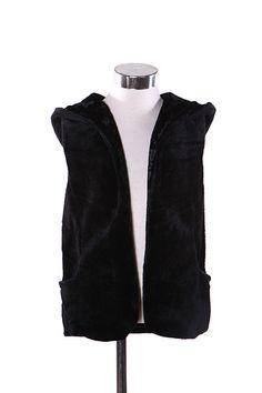 Kids' Solid Reversible Mink/Velvet Fleece Hoodie Vest Fur Vests, Fleece Hoodie, Mink, Leather Jacket, Velvet, Hoodies, Jackets, Outfits, Products