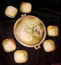 Vintage Hand Painted Nippon Nut Dish Bowl Set 6 Cups Stunning Old China | eBay