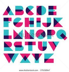 Fun geometric font - stock vector More