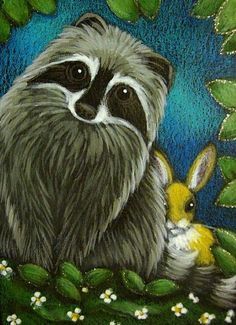 rabbit painting | RACCOON & SPRING BUNNY RABBIT - by Cyra R. Cancel from Gallery