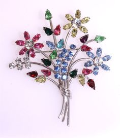 Vintage Carl Art Sterling Silver Beautiful Floral Rhinestone Bouquet Brooch Pin   Jewelry & Watches, Vintage & Antique Jewelry, Fine   eBay!