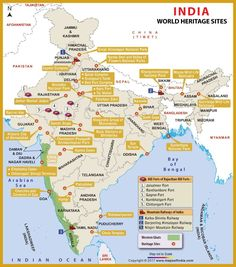 Get the list and detailed information about world heritage sites in India. Map showing the location of heritage sites with state boundaries. Geography Map, Geography Lessons, World Geography, Teaching Geography, Physical Geography, India World Map, India Map, Ancient Indian History, History Of India