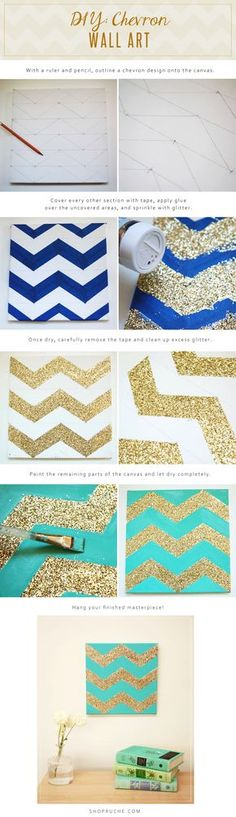 DIY: Chevron Wall Art. So cute with the colors. I will probly do pink and black