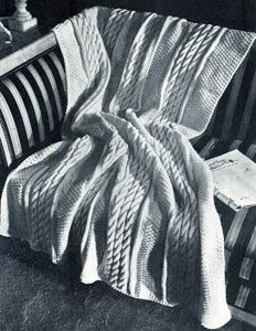 Knitted Cable Stitch Afghan | Knitting Patterns