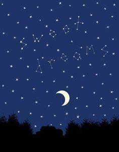 Items similar to Sweet Dreams - 8 x 10 Custom Silhouette Night Sky Print on Etsy