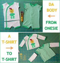 Come trasformare un vecchio body in una nuova maglietta - How to transform an old onesie into a new t-shirt - by RobyGiup handmade #tutorial #recycle #sewing