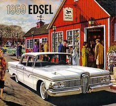 :: Classic Car Art :: Vintage Ads :: 1959 Edsel Ranger You are in the right place about Classic Cars 1960 Here we offer you the most beautiful pictures about the Classic Cars custom you are loo Cars Usa, Us Cars, Ford Motor Company, Vintage Advertisements, Vintage Ads, Rat Rods, Ranger, E Motor, American Classic Cars
