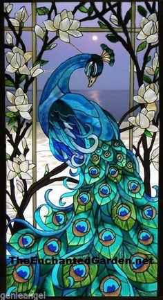 MAGNIFICENT * PEACOCK & LOTUS FLOWERS 17x37 STAINED GLASS WINDOW PANEL
