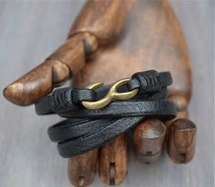 Black Leather Hook Bracelet Original Design, Hand Made, Mens Leather Bracelet, Mens Black Leather Bracelet, Womens Black Leather Bracelet
