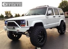 This 1997 Jeep Cherokee is running Moto Metal wheels Nitto Terra Grappler tires with Suspension Lift suspension. Jeep Xj Mods, Jeep 4x4, Jeep Truck, 4x4 Trucks, Diesel Trucks, 1999 Jeep Cherokee, Badass Jeep, Custom Jeep, Cool Jeeps