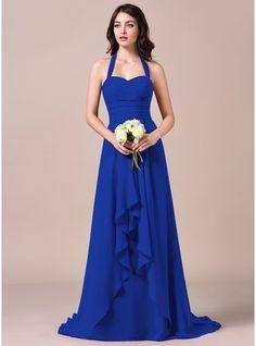 A-Line/Princess Halter Sweep Train Chiffon Bridesmaid Dress With Bow(s) Cascading Ruffles