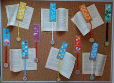 Záložky do knihy z barevného papíru a kartonu - Tématický blok Mezinárodní den dětské knihy a Světový den knihy.