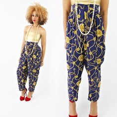 vintage 90s navy BAROQUE clock chains NOVELTY print high waisted pants size XL/XXL by PasseNouveauVintage, $28.00