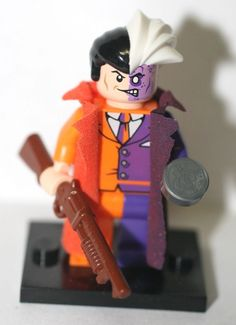 Custom LEGO Two Face Minifig -  Batman Super Heroes - DC