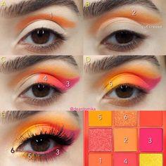 Makeup Eye Looks, Eye Makeup Steps, Eye Makeup Art, Orange Eye Makeup, Colorful Eye Makeup, Makeup Morphe, Eye Makeup Designs, Creative Eye Makeup, Smokey Eye Makeup Tutorial