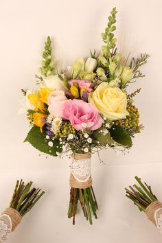 Pink and lemon wild flowers with lace and twine - Rustic wedding flowers made by Amy's Flowers