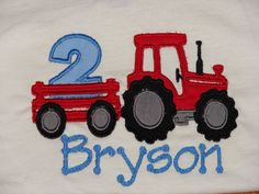 Red Tractor Birthday Shirt- Great for Little Boys- Other Color Tractors are Available on Etsy, $24.00