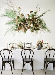 Modern tropical wedding ideas with Gather Events at Portland's newest venue - 100 Layer Cake Wedding Table Numbers, Wedding Reception Decorations, Wedding Centerpieces, Wedding Venues, Table Decorations, Floral Wedding, Wedding Flowers, Modern Tropical, Wedding Welcome Signs