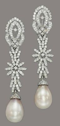 Natural pearl and diamond earrings -Christie's  www.finditforweddings.com  #earrings