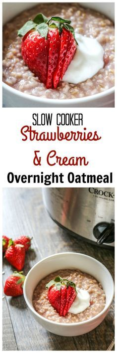 Overnight Strawberries and Cream Steel Cut Oatmeal: Mix all the ingredients together in a slow cooker and set it before bed and wake up to a hearty, gluten-free breakfast! This strawberry and cream oatmeal is a creamy delicious way to start any day! #oatmeal #slowcooker #glutenfree