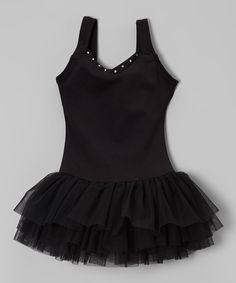 Eurotard Black Rhinestone V-Neck Tutu Leotard - Toddler & Girls | zulily