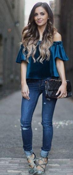 Off-The-Shoulder Sapphire Velvet.   Mia Mia Mine #off