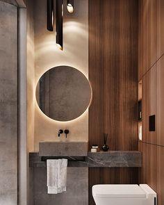Bad Minimalist modern guest bathroom designed by ATO Studio in Moscow, Russia 🇷🇺 Zen Bathroom, Guest Bathrooms, Diy Bathroom Decor, Bathroom Layout, Modern Bathroom Design, Bathroom Interior Design, Studio Interior, Bathroom Ideas, Bathroom Things