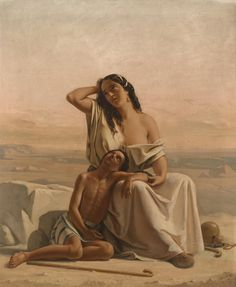 Luigi Alois Gillarduzzi - Hagar und Ismael in der Wüste 1851 Bible Art, Young Boys, Religious Art, Oil On Canvas, Mona Lisa, Landscape, Artwork, Luigi, Painting Portraits