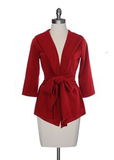 Casual Knit Jacket with Bow Belt $39.00