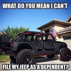 Jeep JK — itsajeepshirt: It's only logical… 😭😂😭😂🤔😔. Jeep Jokes, Jeep Humor, Funny Car Memes, Jeep Funny, Jeep 4x4, Jeep Truck, Jeep Trails, Jeep Baby, Badass Jeep
