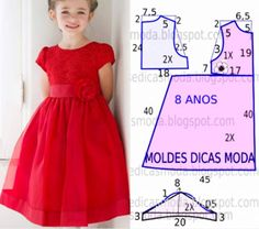 Vestido vermelho rodado - Scrub Tutorial and Ideas Baby Girl Dress Patterns, Dress Sewing Patterns, Little Girl Dresses, Clothing Patterns, Girls Dresses, Fashion Sewing, Kids Fashion, Home Fashion, Kids Frocks