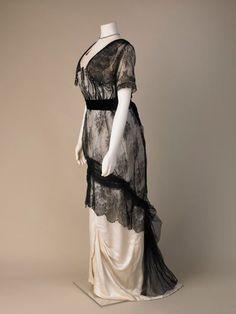 Evening dress, silk satin, lace and diamanté decoration, about 1911-1913.