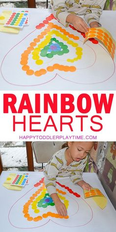 Rainbow Hearts Dot Sticker Activity & HAPPY TODDLER PLAYTIME Here is a colourful dot sticker activity for toddlers and preschoolers. Its a great way to practice colors and strengthen fine motor skills! Rainbow Activities, Valentine Crafts For Kids, Rainbow Crafts, Valentines Day Activities, Rainbow Art, Toddler Preschool, Toddler Crafts, Preschool Activities, Toddler Play