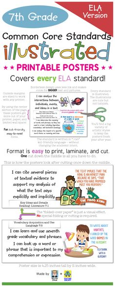 "English-Language Arts Common Core Standards posters for 7th grade! These posters bring the standard to life and make it easier to understand with age-appropriate illustrations and kid-friendly ""I can"" language. They also have a unique borderless design that will get the most out of your wall space, paper, and ink, no matter what printer model you use. Big, colorful, age-appropriate posters for the seventh grade ELA common core! I had a lot of fun making these. I hope you like 'em!  $"