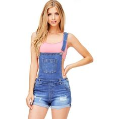 Pink Ice Harbor Denim Short Overalls (560 MXN) ❤ liked on Polyvore featuring jumpsuits, rompers, pink rompers, short overalls, short denim overalls and denim rompers