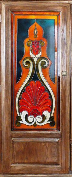 Au fond du jardin panneau de porte en vitrail tiffany for Faux vitrail sur miroir