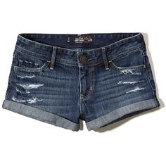 Hollister Low Rise Denim Short-Shorts ($19) ❤ liked on Polyvore featuring shorts, hollister, dark destroy, short jean shorts, mini shorts, low rise jean shorts, ripped shorts and short shorts