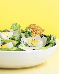 Caesar Salad with Hard-Cooked Eggs. Get cracking! Hard-cooked eggs, when made by the dozen and kept in the fridge, can become the basis for easy weeknight meals like this satisfying Caesar salad. Egg Recipes For Dinner, Dinner Ideas, Hard Boiled Egg Recipes, Martha Stewart Recipes, Main Dish Salads, Dinner Salads, Veggie Dishes, Main Dishes, Side Dishes