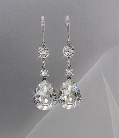 Crystal Bridal Earrings, Crystal Wedding earrings, Crystal earrings, Wedding Jewelry, Bridal Jewelry, Trina Crystal Drop  Earrings