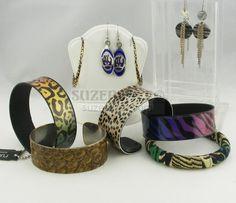 Animal Print Jewelry Leopard Alligator Zebra Bear Cheetah Bracelets Earrings SuzePlace.com