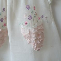 Detail - Heirloom Baby Dress, Flower Pocket Embroidery