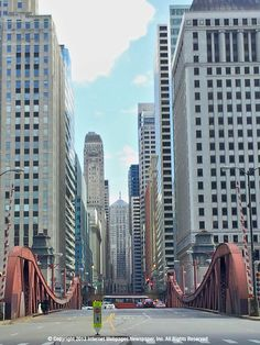 LaSalle Street Bridge at Chicago River with Chicago Board of Trade in far view.