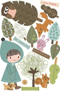 In the Woodland. Set of 18 wall decals. Removable and repositional till your heart 's content! Matt with slight fabric texture, fabulous!  Size medium: 910mm x 610mm (all together on a backing paper sheet), girl size 516mm x 228mm.