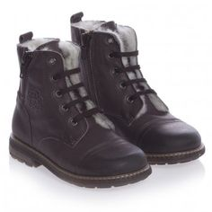Boys Dark Brown Sheepskin Lined Boots