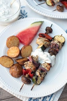 A lemon and herb-infused marinade creates incredibly flavorful Grilled Greek Chicken Kabobs. Serve them up with an irresistible creamy Feta Dill Sauce. ~ https://www.fromvalerieskitchen.com