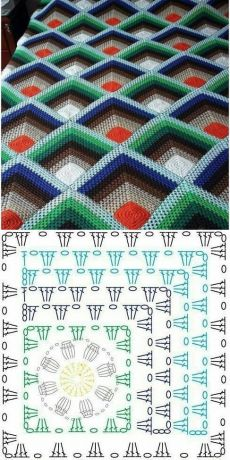 Crochet Bedspread Pattern, Crochet Motif Patterns, Crochet Symbols, Crochet Quilt, Granny Square Crochet Pattern, Crochet Diagram, Crochet Instructions, Crochet Flower Tutorial, Crochet Carpet