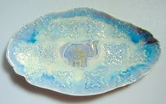 This beautiful oragnic shaped oval tray is decorated with a lucky elephant in blue and aqua, and is a perfect gift for your Valentine - fill it with a